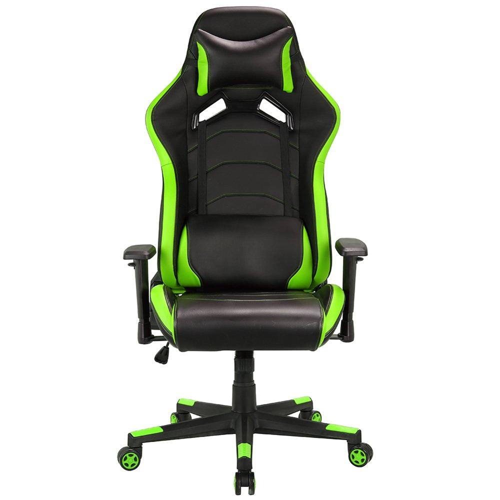 Computer Gaming Chair  PU Leather Swivel Office Chair  Adjustable Head Pillow Movable Lumbar Cushion  Racing Sport Style A35