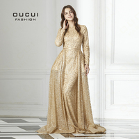 Real Photos Tulle Ball Gown Full Sleeve Gold Appliques Scoop Long Evening Dress Illusion Close Back