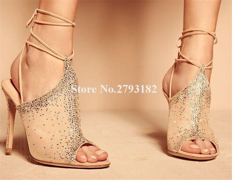 2019 New Fashion Women Peep Toe Rhinestone Mesh Thin Heel Pumps Lace-up Cut-out Crystal Lace High Heels Wedding Dress Shoes2019 New Fashion Women Peep Toe Rhinestone Mesh Thin Heel Pumps Lace-up Cut-out Crystal Lace High Heels Wedding Dress Shoes