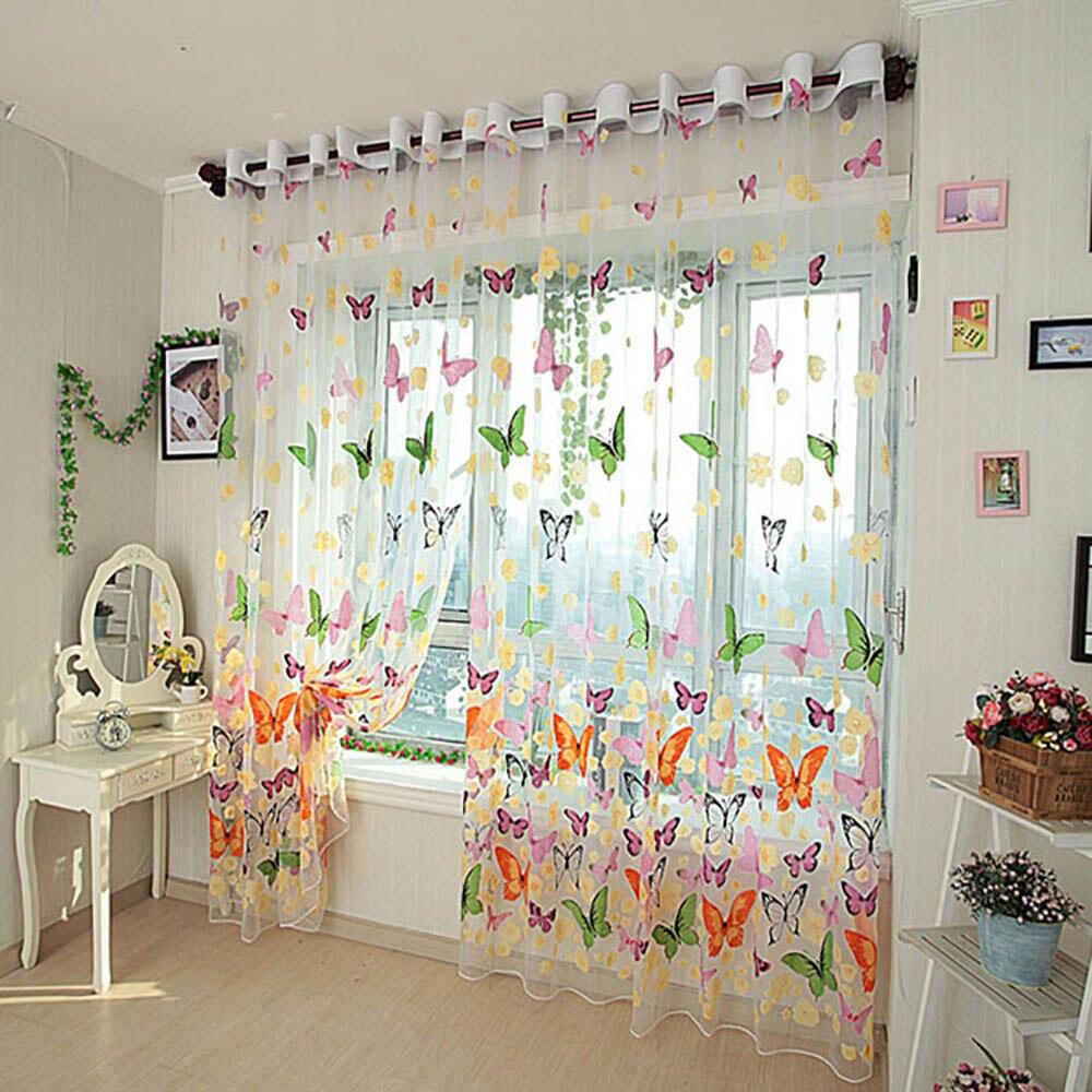 Romantis Kupu Blinds Tirai Benang Tulle Kamar Tidur Jadi Dibuat Organza Anak Jendela Layar Cortina Untuk Ruang Tamu Rumah Di Dari Taman