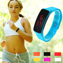 2017 New Ultra Thin Fashion Ultra girl man womanSports Silicone Digital LED Sports Wrist Watch Bracelet quality affordable P*21