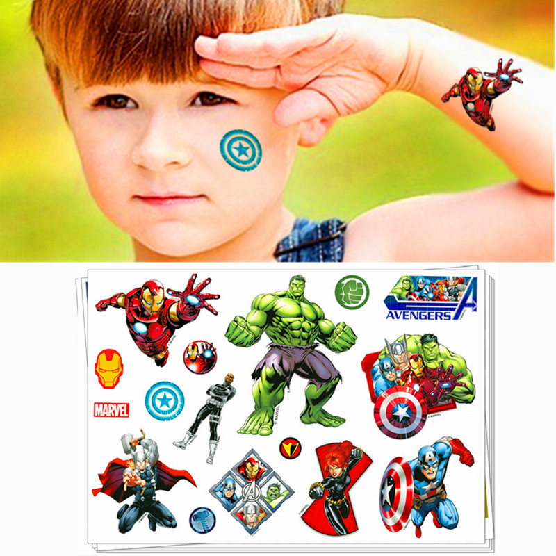 Children Cartoon Temporary Tattoo Sticker Novelty Gag Toys For Mavel Avengers Spiderman Ironman Hulk Fans Waterproof 2-3 Days