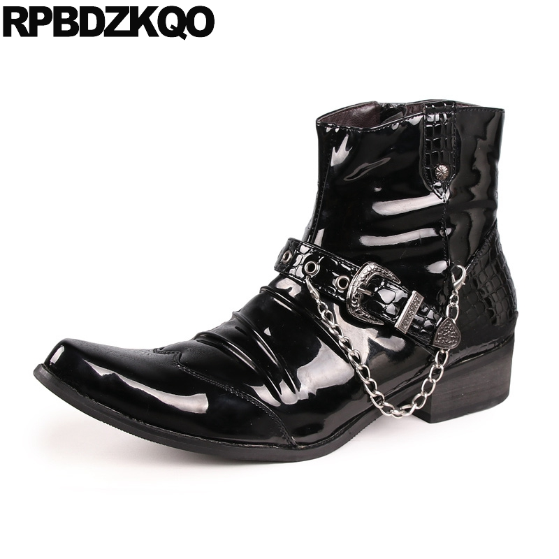 Punk Mens Black Patent Leather Boots Metalic Pointed Toe Zipper 2017 Party Short Ankle Rock Shoes Booties Comfortable Male plus size 34 43 autumn winter genuine leather women flower shoes lady high heel long boots embroidered over knee high snow boots