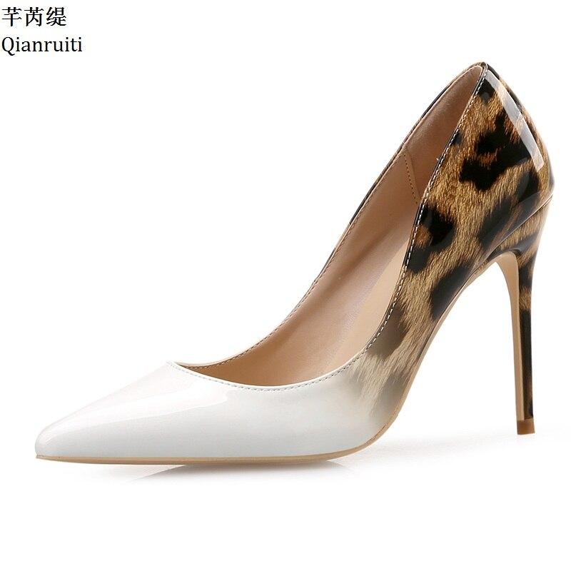 Verni Sexy En Shown Talons De Pointu Talon Cuir Chaussures Qianruiti Léopard Bout Haute Mariage Stiletto Pompes Impression As Shown as Femmes Mariée q6wEIEC