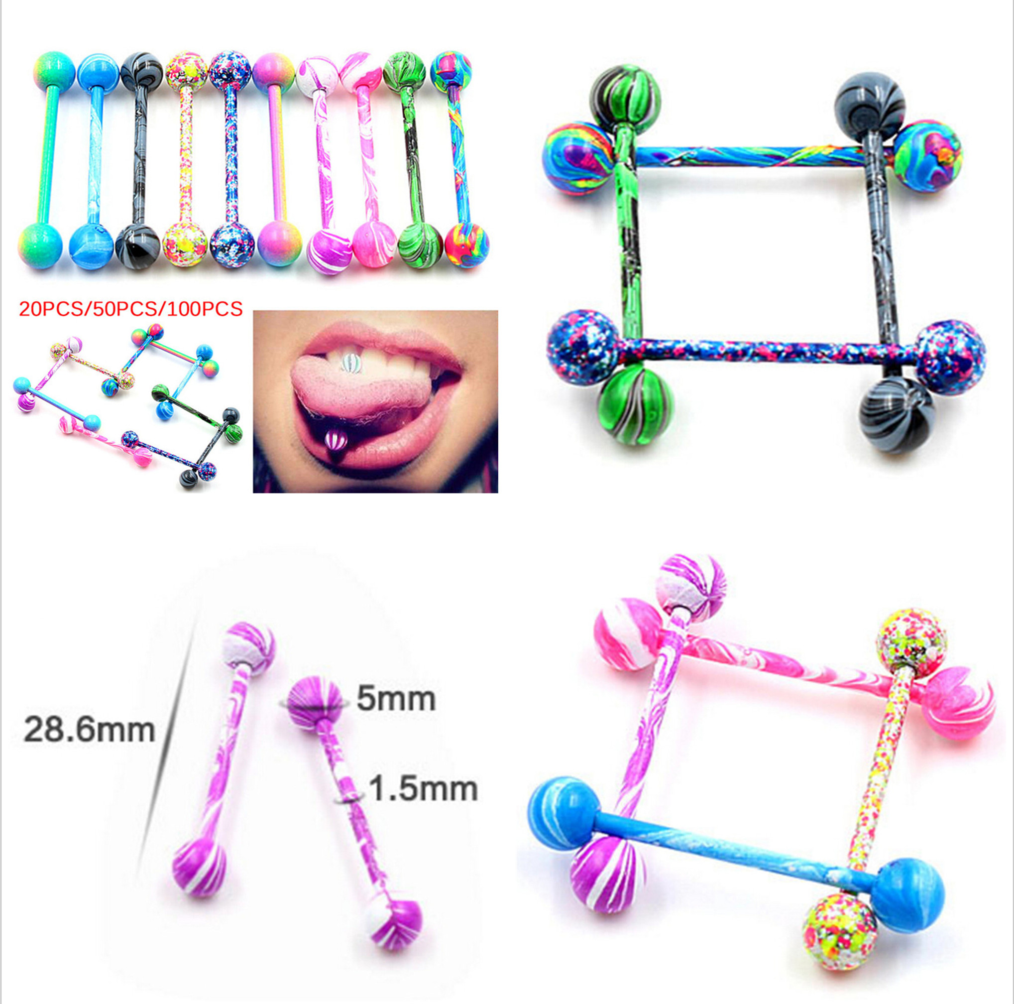 Tongue Piercing10Pcs/Lot Surgical Stainless Steel Tongue Rings Barbell Jewelry Piercing Langue Glitter Design