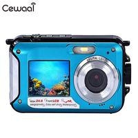 Cewaal 16X Digital Camera Double Screen 24mp Waterproof Photography Camcorder Portable Double Screen Camcorder