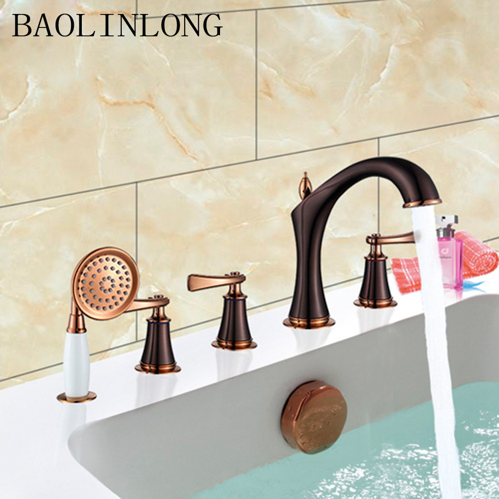 Brass bathroom faucet bath shower head tap set waterfall Vanity Vessel sink Cold and Hat water in Bathtub Faucets from Home Improvement