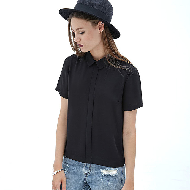 a5cab307ff3b57 European Handsome Street Style Turn Down Back Button Design Short Sleeve Black  Chiffon Blouses D576