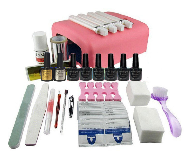 EM-127 DIY UV Gel Polish Set Soak Off Gel Kit UV 36W Curing Lamp File Nail Art Tools  free shipping new nail art tools pro diy full set led soak off uv gel polish manicure file topcoat cleanser 36w curing lamp kit