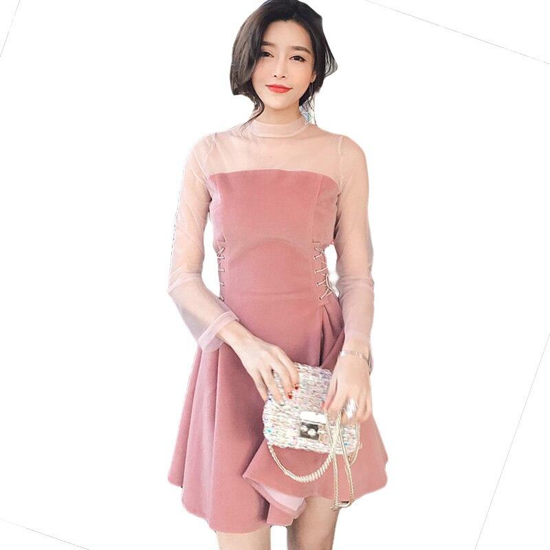 2018 nouvelles femmes perspective Net fil couture robe mode Sexy un mot épaule robe femmes printemps et été rose robe TW009