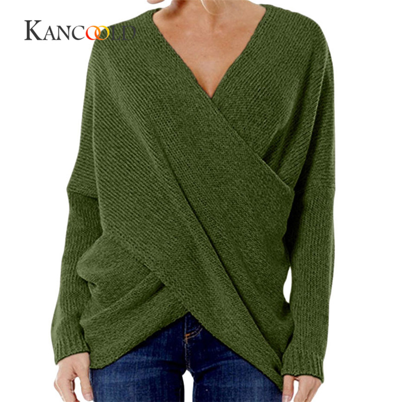 KANCOOLD 2017 Fashion Pullovers high quality Women's Gray Criss Cross Wrap Front V Neck Long Sleeve Knit Sweater Jumper oct13