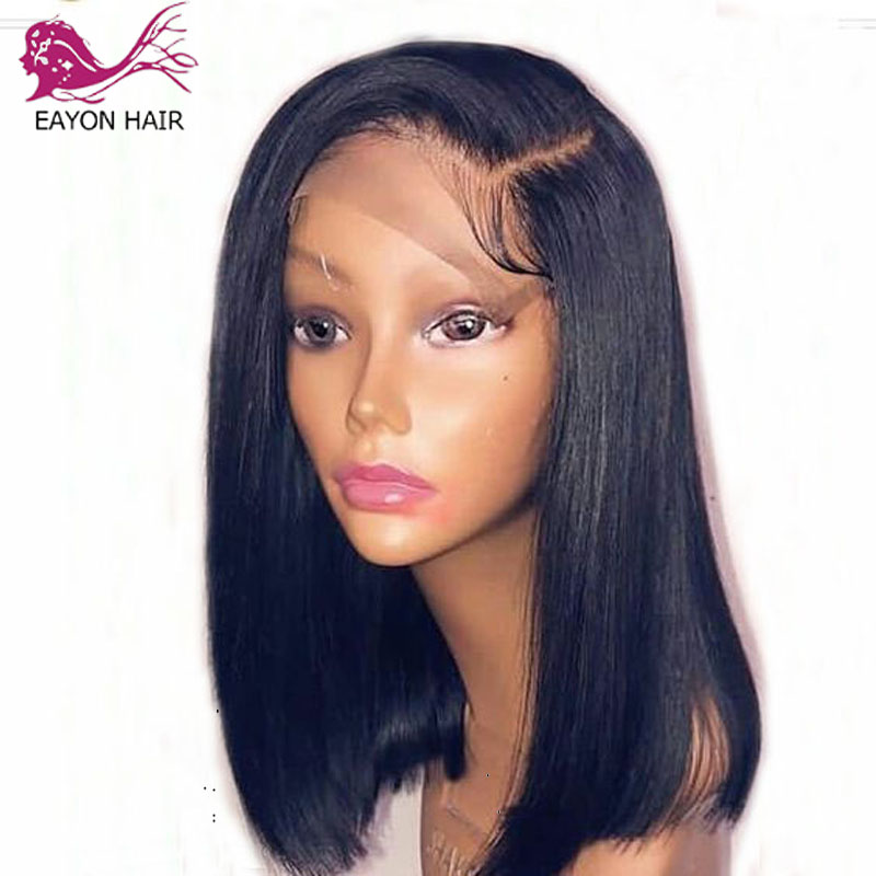 EAYON Long Bob Human Hair Lace Front Wig Brazilian Glueless Silky Straight Hair Wigs Remy Hair