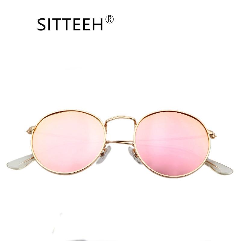 SITTEEH Sunglasses 2018 metal uv400 sun glasses for men and women round classic mirror oculos font
