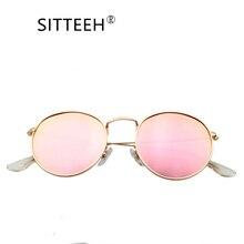 SITTEEH gafas de Sol 2018 uv400 gafas de sol de metal para los hombres y mujeres ronda classic espejo gafas de sol oculos feminino mujer SI362