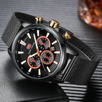 Luxury Royal Black Watch Men Ultra Thin Watches Quartz Analog Clock Mesh Strap Waterproof Chronograph Casual Business Wristwatch