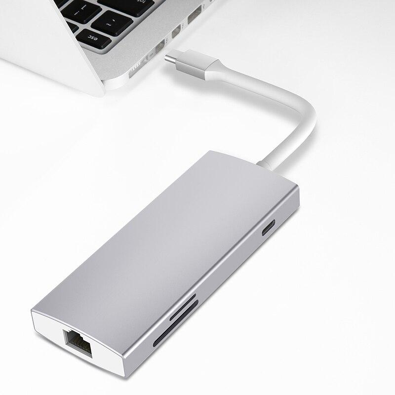 Thunderbolt 3 Station d'accueil USB c Hub USB3.1 type-c vers HDMI RJ45 SD TF carte USB3.0 PD adaptateur de charge pour dell xps macbook pro