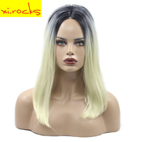 Blonde Platinum Wig Ombre Synthetic Straight Lace Front Medium Wigs For Women Natural Daily Hair Xi.rocks