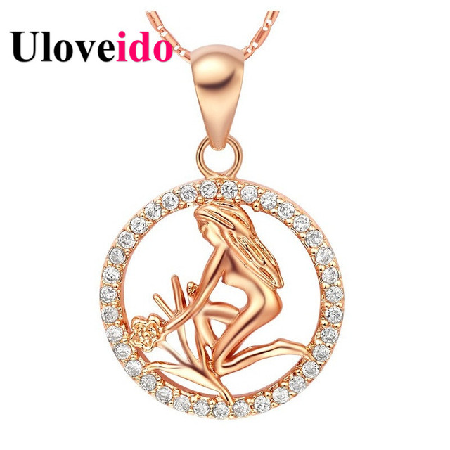 Uloveido rose gold color 12 constellations virgo libra scorpio uloveido rose gold color 12 constellations virgo libra scorpio necklace crystal necklaces pendants jewelry kids mozeypictures Images