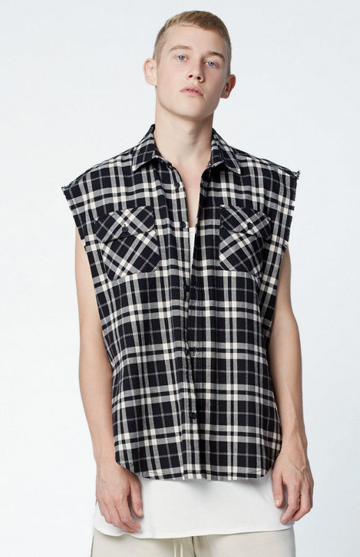 new arrival 2017 designs clothing blouse fog FEAR OF GOD flannel korean  short sleeve british red - Compare Prices On Sleeveless Plaid Shirt Men- Online Shopping/Buy