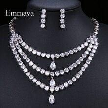 Emmaya 여성 눈물 방울 럭셔리 화이트 지르콘 목걸이 펜던트 세트 연회 귀걸이 선물 액세서리 선물