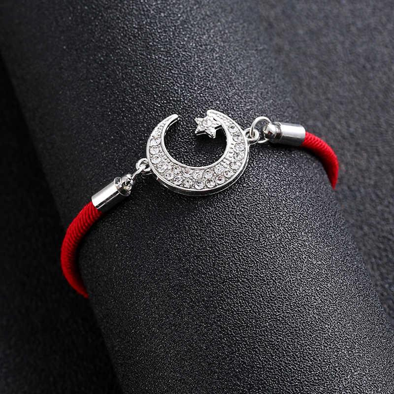 น่ารักอัลลอฮ์มุสลิมศาสนา Heart Moon สร้อยข้อมือสำหรับสตรี Eid al-Fitr Lessar อัญมณีของ Fatima Eye of Evil spirit ของขวัญขายส่ง