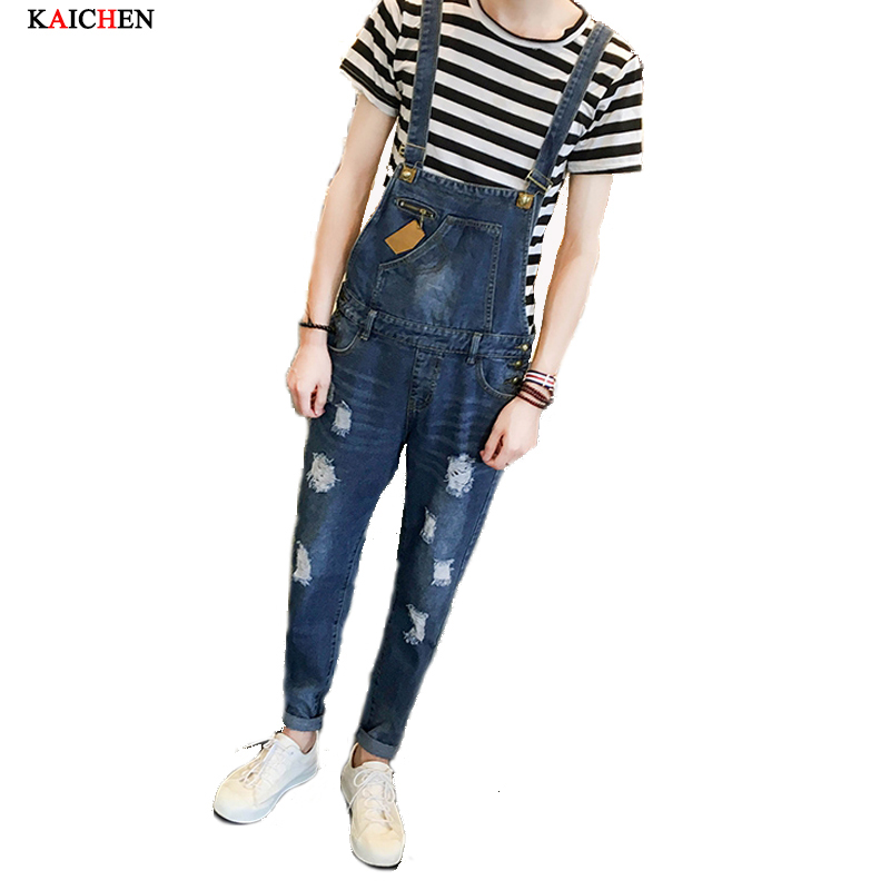 2016 Spring New Arrival Stretched Mens Slim Straight Denim Overalls Distressed Jeans Ripped Jumpsuit Male Suspenders Bibs 2017 spring autumn fashion mens slim jean overalls casual bib jeans for men male ripped denim jumpsuit suspenders bibs
