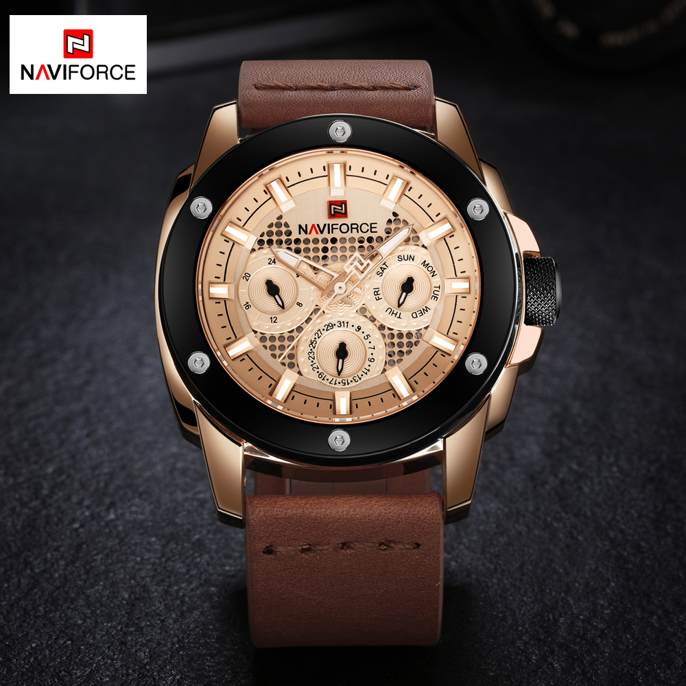NAVIFORCE Luxury Men's Quartz Luminous Analog Watches Men Waterproof Date Clock Man Sport Leather Wrist Watch Relogio Masculino new fashion design men watch analog quartz clock calendar date wristwatch luxury leather band alloy dial man dress sport watches