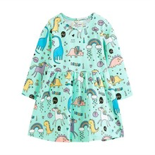 Toddler Infant Kids Baby Girl Long Sleeve Dinosaur Cartoon Clothes Dress Outfits Spring Autumn Baby Kids Girls Dresses neat wholesale new baby girl clothes college style lovely girls dresses kids clothes long sleeve dress cartoon elephant sg006