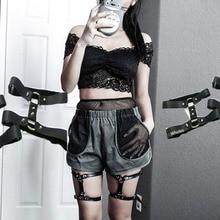 Double layers Metal Punk Goth Leg Harness belt Sexy Heart Garters Harajuku Women Handcrafted Rivet Faux leather Garter Belt