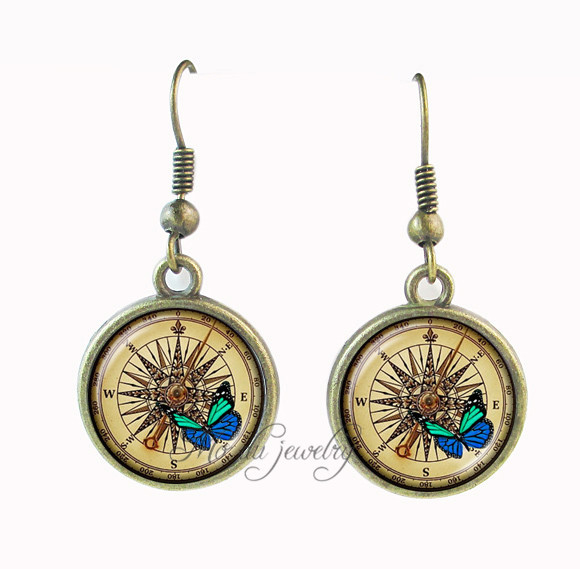Compass earring butterfly pendant glass cabochon jewelry <font><b>North</b></font> <font><b>South</b></font> <font><b>East</b></font> <font><b>West</b></font> earrings summer style bronze tone animal earings