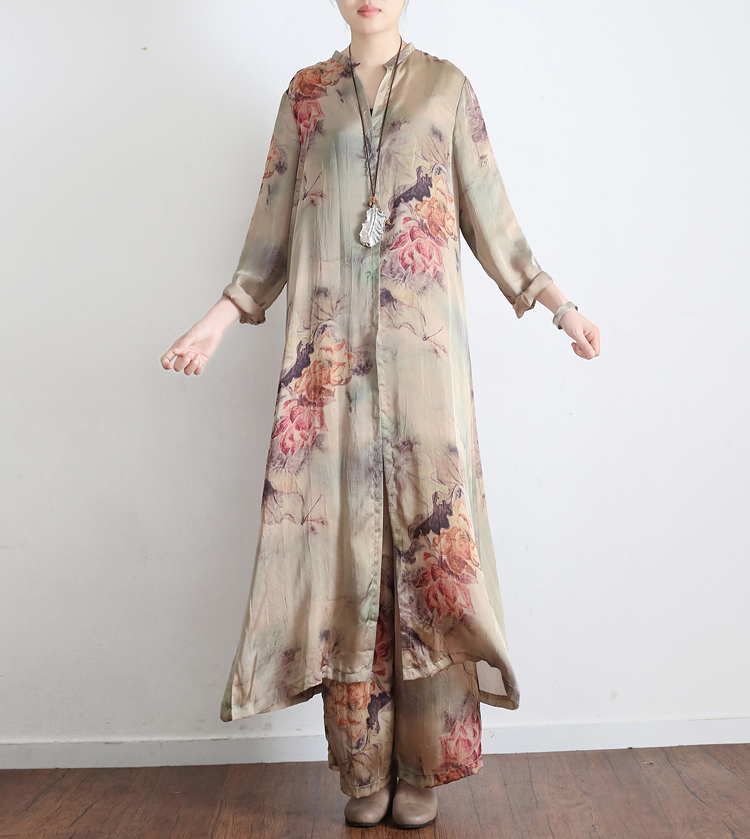 18 Early Autumn New Women s Loose Original Retro Printed Faux Silk Elegant Split Full Sleeve