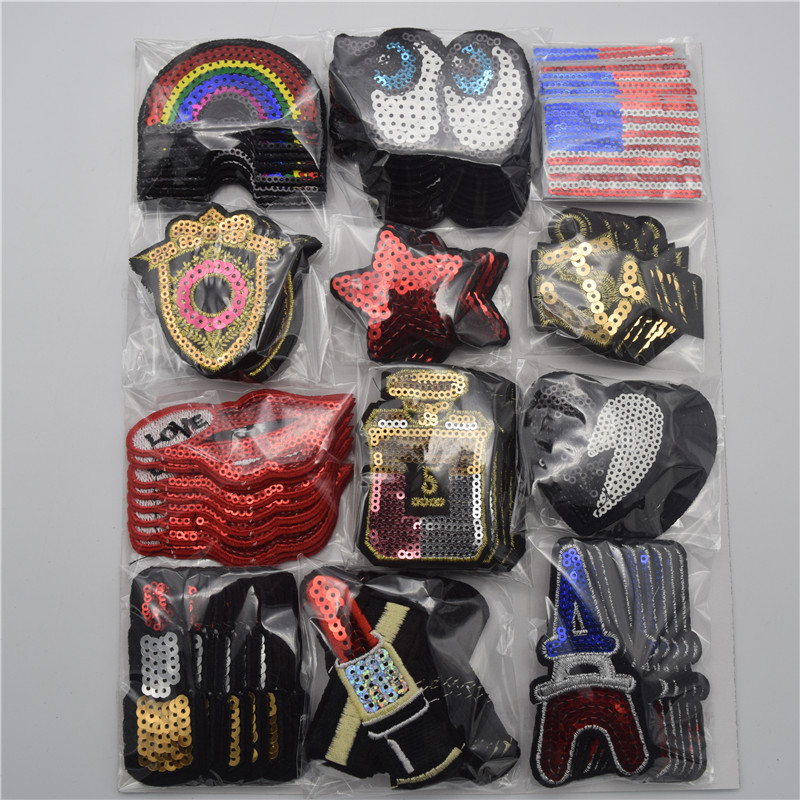 120pcs set Mixed flag rainbow star sequins Embroidered Sew On Iron On Patches Set Badge Bag