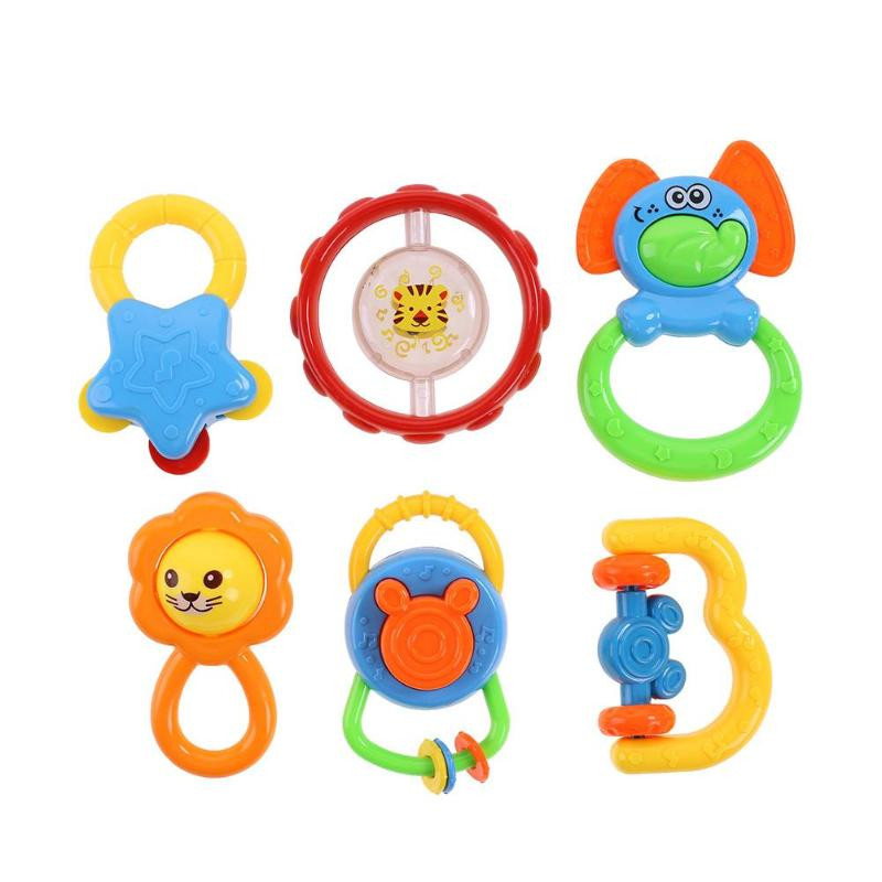 6pcs Cartoon Baby Rattles Toys Unisex Baby Plastic Hand Jingle Shaking Bell Soft Musical Rattles Toys Hand Grasp Combination