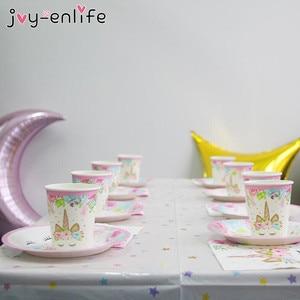 Image 4 - Unicorn Birthday Party Decors Disposable Tableware Kit Unicorn Balloon Cups Plates Napkin Kids Birthday Unicornio Party Supplies
