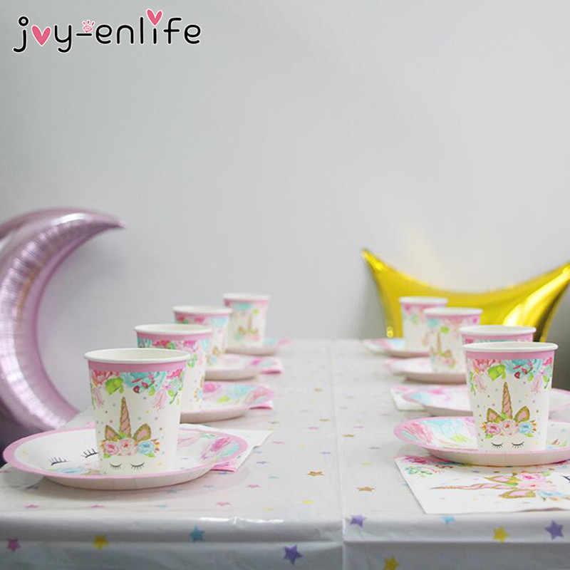 Unicorn Ulang Tahun Pesta Dekorasi Peralatan Makan Sekali Pakai Kit Unicorn Balon Cangkir Piring Serbet Ulang Tahun Anak-anak Unicornio Perlengkapan Pesta