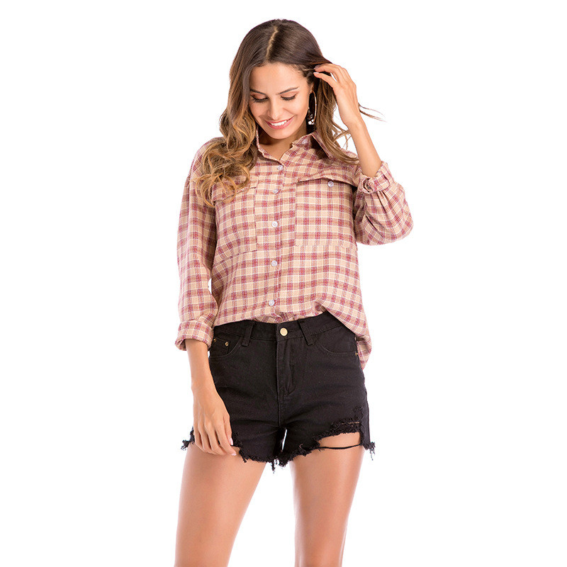 WSYORE Spring Blouses Women Casual Tops 2019 New Women's Long Sleeve Lapel Plaid Shirts Women's Clothing Womens Blusa NS904