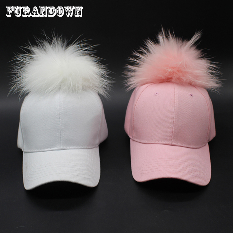 2017 New Fashion Women Men Baseball Caps Snapback Hip hop Hats Real Raccoon Fur pompoms Hat