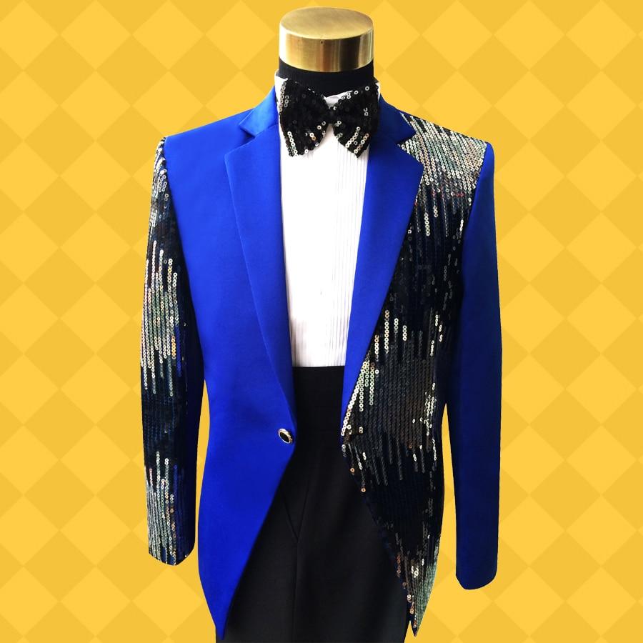 Robes Performance Show Plus Chanteur Hôte Taille Noir Hommes Mariée bleu Magicien rouge Paillettes De Robe Mâle Palette Mince Formelle Costumes Lumière La Costume kiXPOuZ