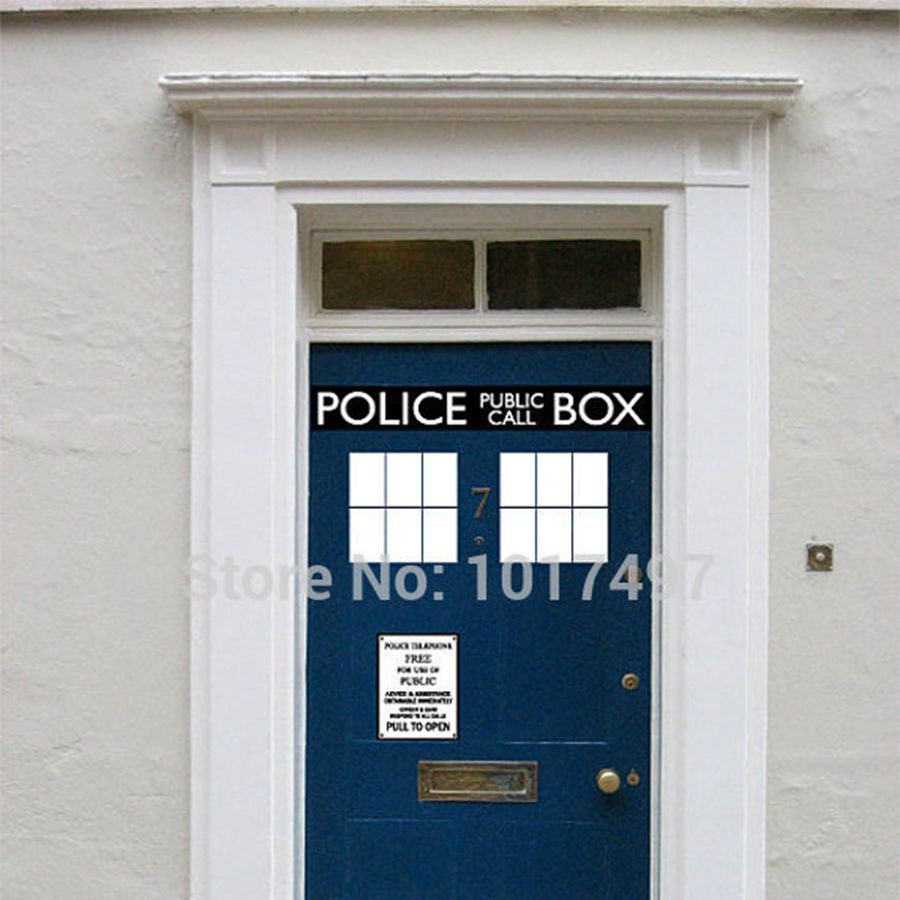 <font><b>Fashion</b></font> Cool Police Box door decal vinyl sticker ,Dr. Who Doctor <font><b>Style</b></font> For Door & fridge decoration