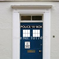2014 Fashion Cool Police Box Door Decal Vinyl Sticker Dr Who Doctor Style For Door Fridge