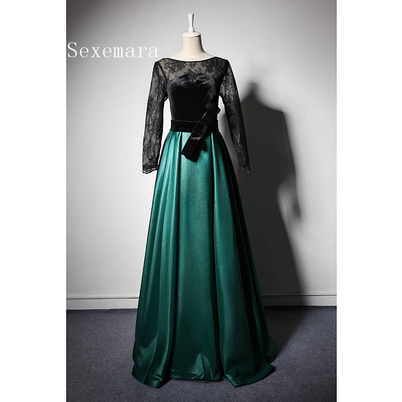 Long sleeve sexy Backless Evening prom Gowns 2018 vestidos de novia longo a line green satin lace Mother of the Bride Dresses in Mother of the Bride Dresses from Weddings Events