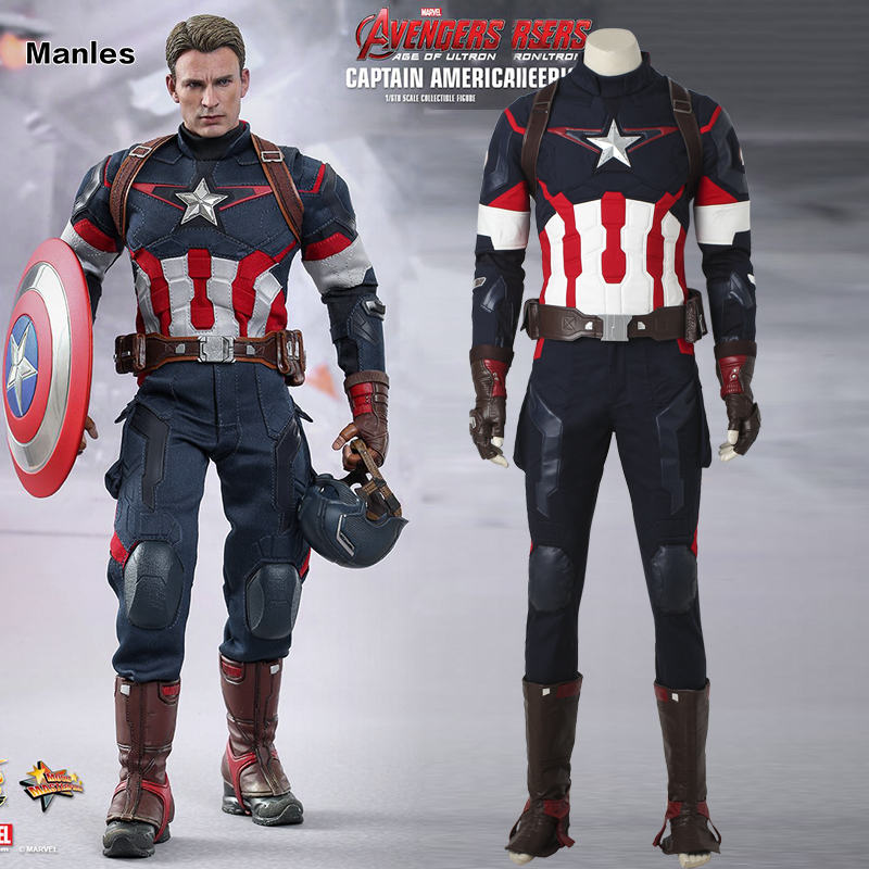 Captain America Cosplay Avengers 2 Age of Ultron Costume Jacket Man Adult Fantasy Steve Rogers Halloween