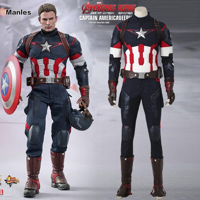 Captain America Cosplay Avengers 2 Età Di Ultron Costume Giacca Uomo Di Età Fantasy Steve Rogers Di Halloween Degli Uomini Del Vestito Di Vestito Vestiti Buon Sapore