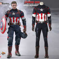 Captain America Cosplay Avengers 2 Alter von Ultron Kostüm Jacke Mann Erwachsene Fantasie Steve Rogers Halloween Anzug Männer Outfit Kleidung