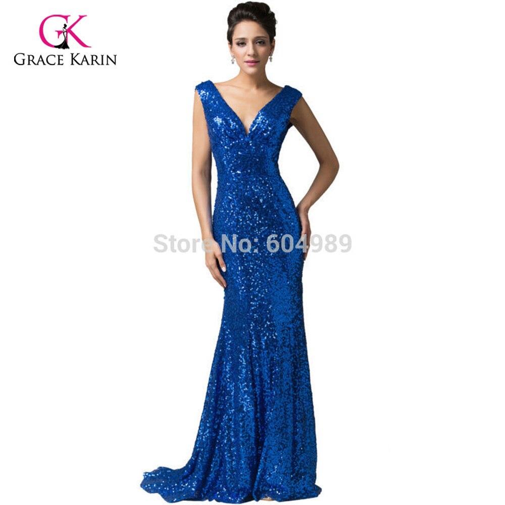 885f9249d6c Luxury Evening Dresses 2018 Grace Karin Red Sequins V neck Elegant Long Black  Formal Evening Gowns Gold mermaid dresses-in Evening Dresses from Weddings  ...