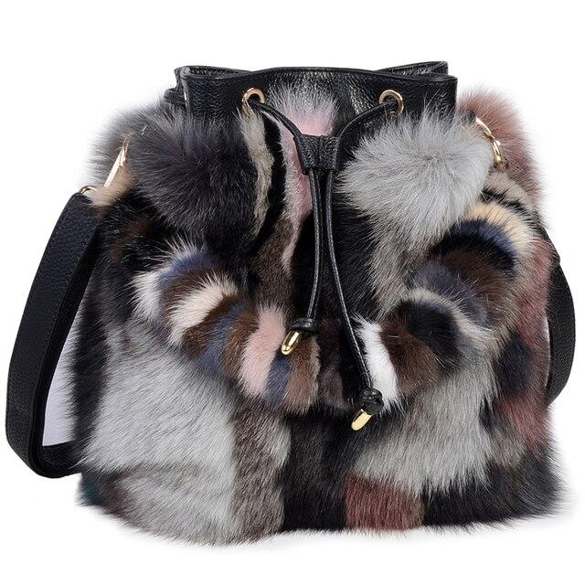 2018 осень зима для женщин сумка мешок пояса из натуральной кожи Мех животных известный бренд дамы сумки хозяйственные Малый Мини