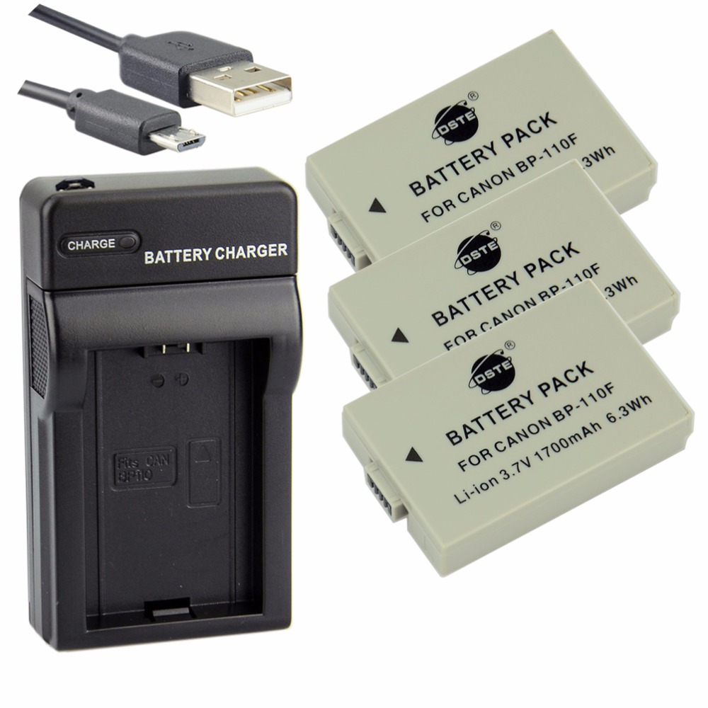 ФОТО DSTE 3PCS BP-110F Li-ion Battery + UDC116 USB Port Charger For Canon VIXIA HF R206 R200 R28 R26 R21 Camera