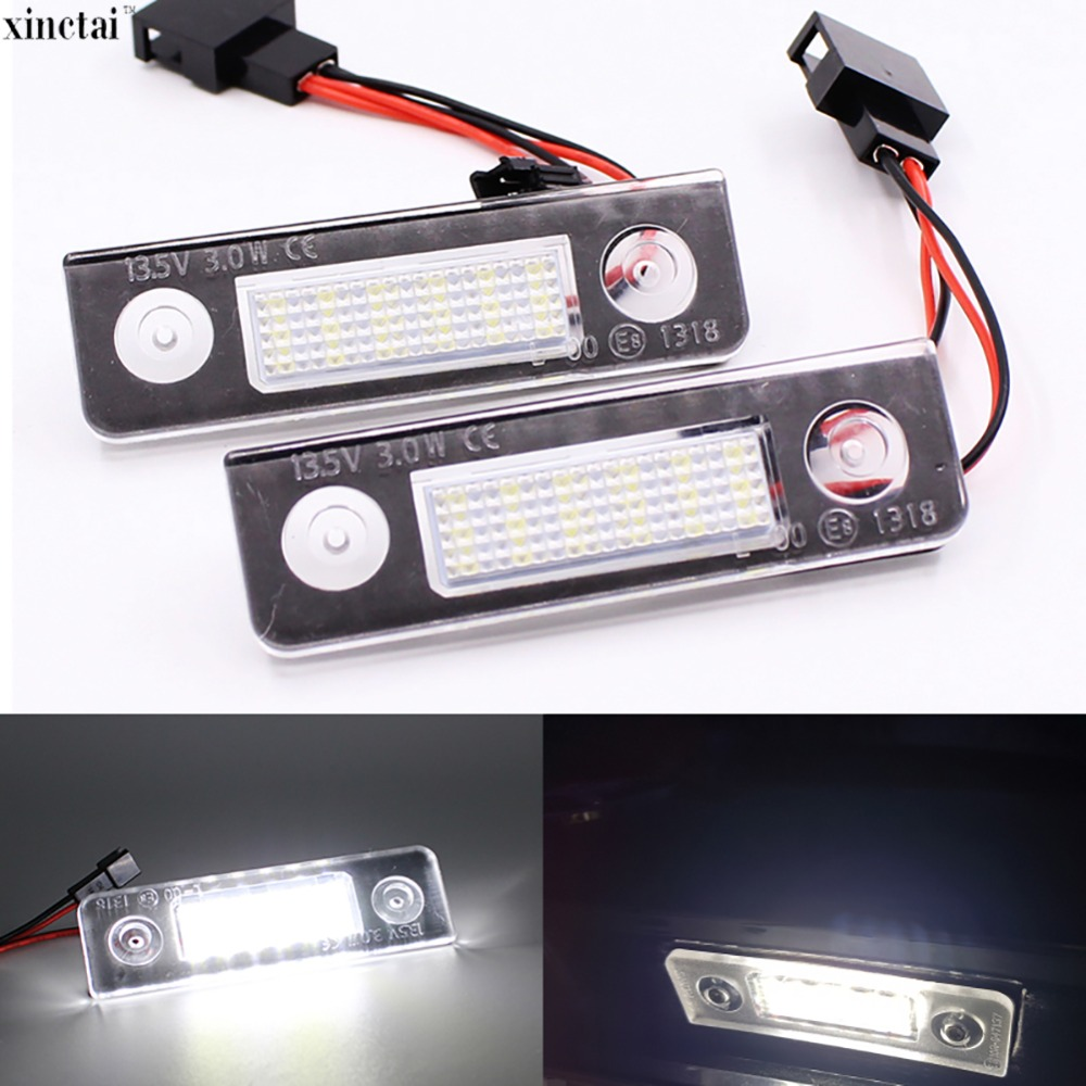 2Pcs Canbus Error Free Car LED Number License Plate Light for Skoda Octavia 2 1Z 2008~ Roomster 5J 2006-2010 2pcs 18smd no error led number license plate light lamp oem direct fit for chevrolet cruze all cars 2009 canbus with decoder