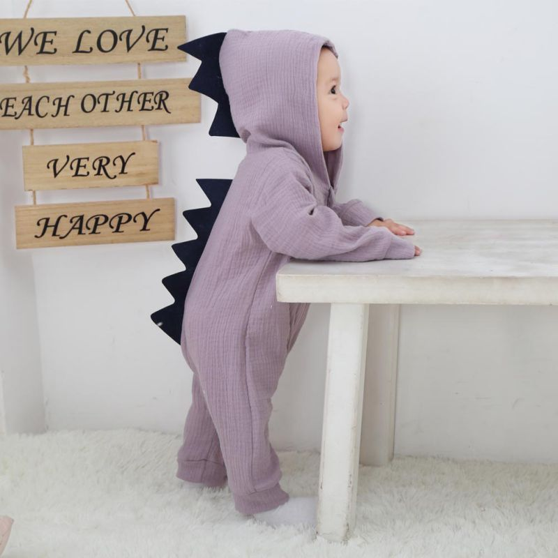 Cute Style Baby Boys Girls Halloween Dinosaur Costume Romper Kids Clothing Toddler Co-splay Jumpsuit 2017 New Arrivals puseky 2017 infant romper baby boys girls jumpsuit newborn bebe clothing hooded toddler baby clothes cute panda romper costumes