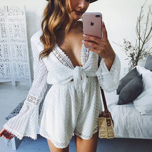 yinlinhe white sexy Transparent short jumpsuit women rompers long sleeve v neck lace up playsuit striped
